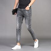 九分牛仔裤男秋季2021年新款修身小脚夏季烟灰潮流男士裤子春秋款