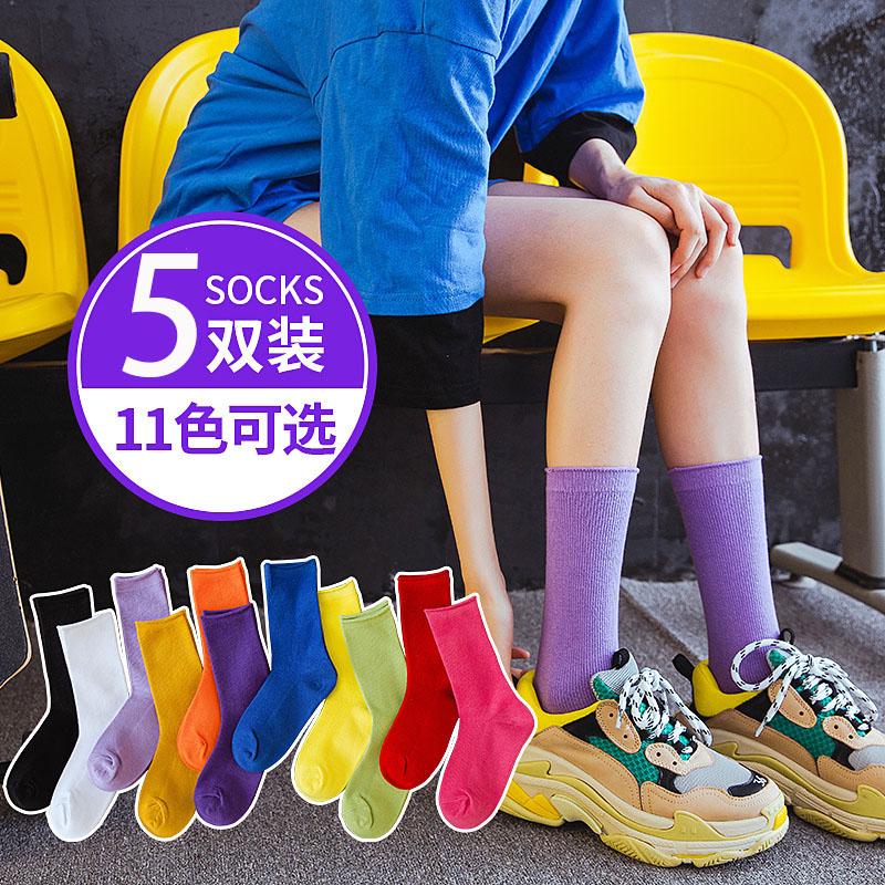 袜子女中筒堆堆袜夏季薄款夏天糖果彩色小腿袜ins潮长袜半筒街头