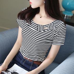 蝴蝶结半袖 新款 夏装 修身 韩版 2020夏季 黑白条纹T恤女短袖 打底上衣