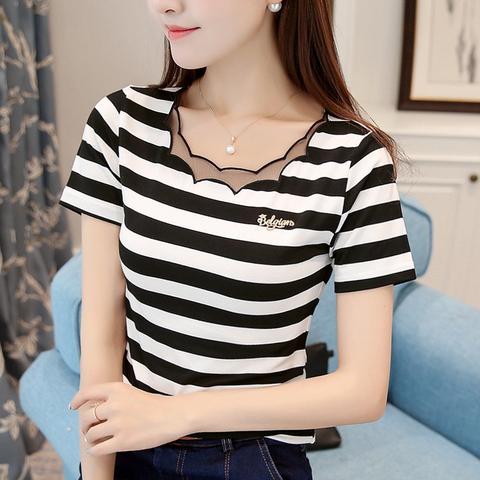 黑白条纹T恤女短袖纯棉夏季新款韩版修身网纱拼接上衣打底衫2020