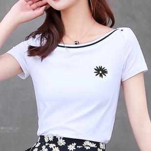纯棉2020年夏季 韩版 女短袖 新款 一字领T恤衫 小雏菊刺绣上衣打底衫