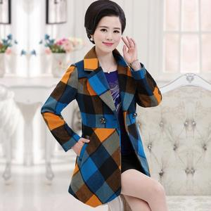 中年女士妈妈装秋装新款上衣40-50岁中老年女装冬中长款毛呢外套