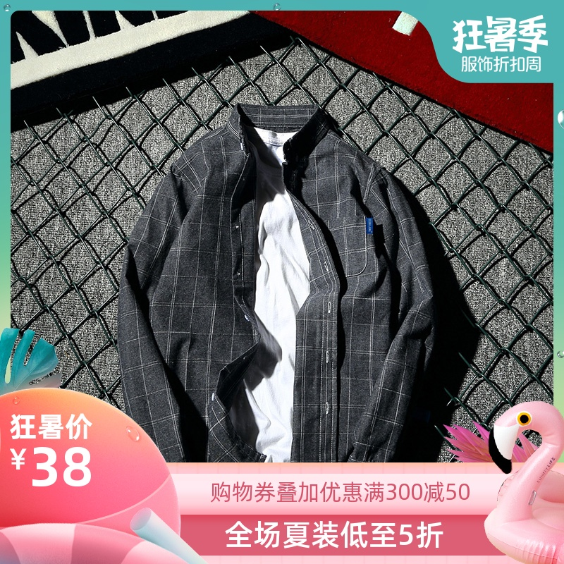 新品潮牌文艺韩版男格子时尚修身长袖衬衫男女原宿衬衫原创日系男