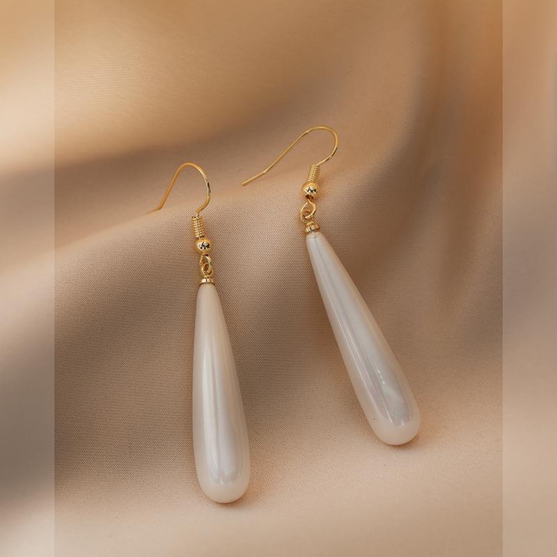 法式水滴珍珠耳环女高级感简约长款气质耳坠吊坠复古耳饰品A12-8