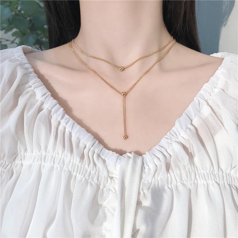 韩国个性ins冷淡风多层圆珠项链女时尚轻奢小众锁骨链颈链K832