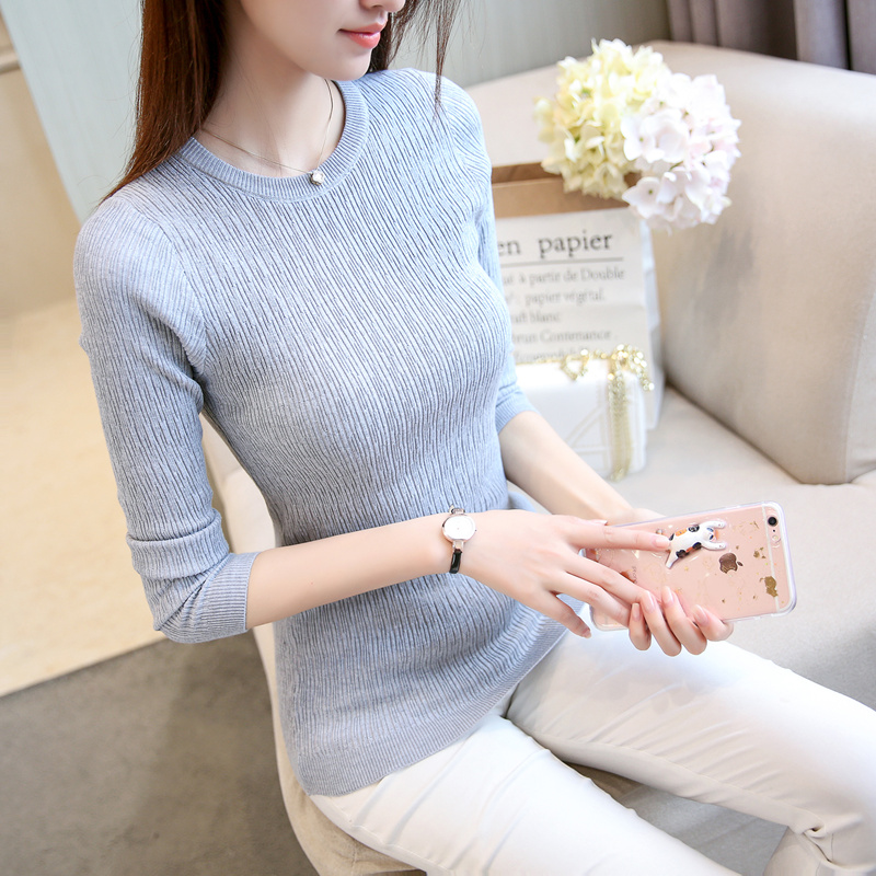 Autumn and winter 2020 new Korean round neck sweater slim long sleeve Pullover elastic thickened knitted base coat