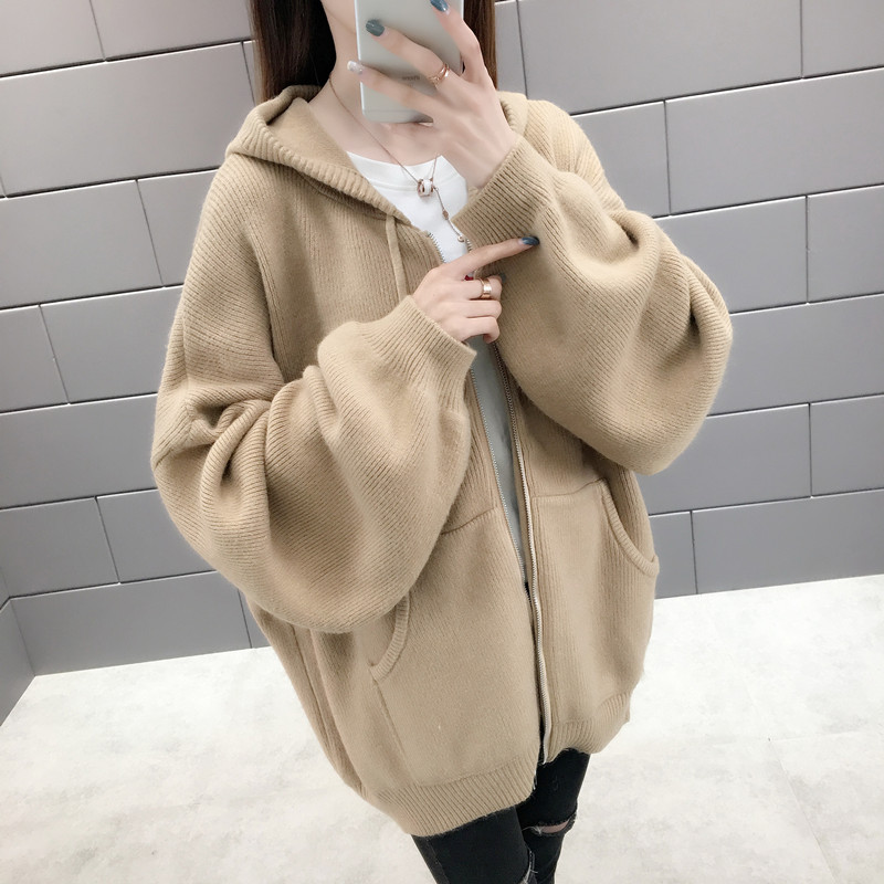2020 spring and autumn new lazy style sweater coat womens Korean loose and versatile solid color zipper hooded knitted cardigan