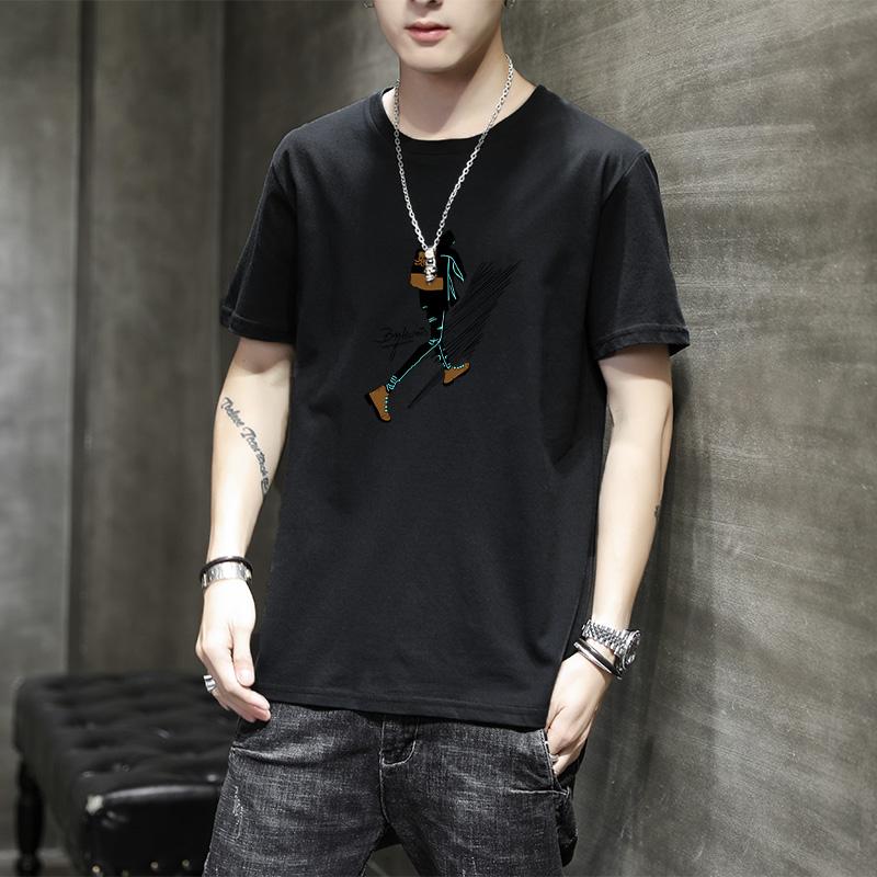 夏季T恤潮流长绒棉高舒适超级透气短袖t恤男士韩版男装休闲体恤衫