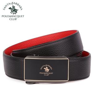 圣大保罗男士自动扣红腰带休闲皮带