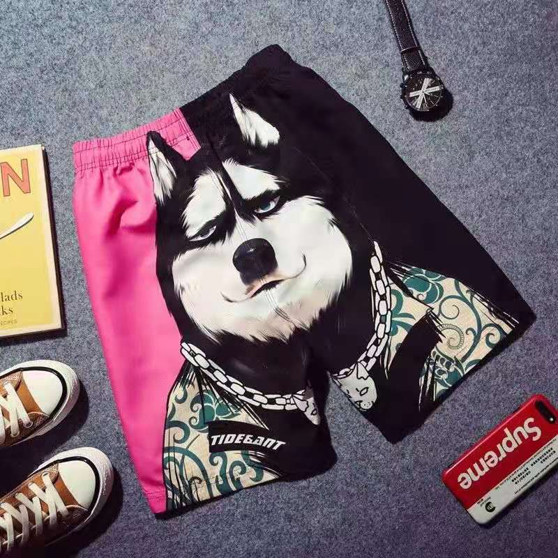 Chao brand summer beach pants loose couples leisure quick-drying shorts men's trousers large size Dog Print five-minute pants