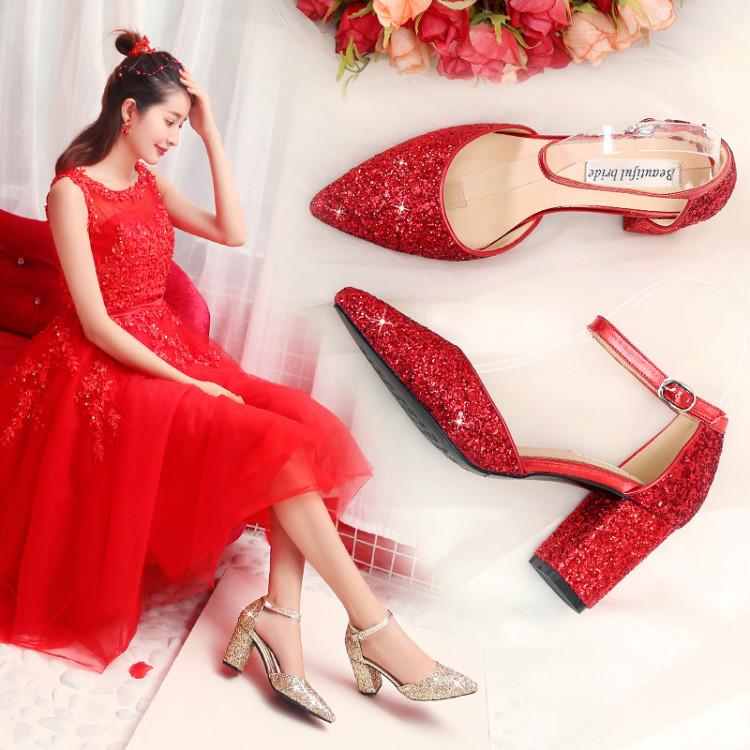 婚鞋2020年新款主婚纱高跟鞋女结婚鞋子新娘鞋红色粗跟敬酒婚礼鞋