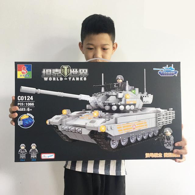沃马新款积木拼装拼插玩具C0124 C0125新款坦克世界积木