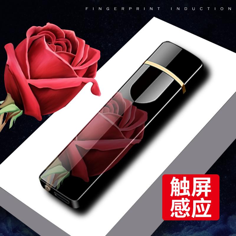 网红指纹感应usb充电打火机创意个性男士超薄防风激光定制送男友10月14日最新优惠