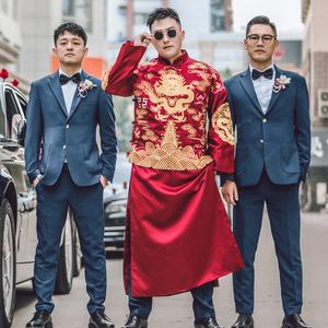 秀禾服男新郎服中式结婚礼服大码秀禾男装男士唐装秀和龙凤褂