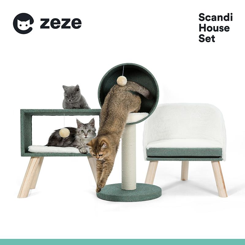 猫爬架猫窝小型实木带一体抓板玩具(非品牌)