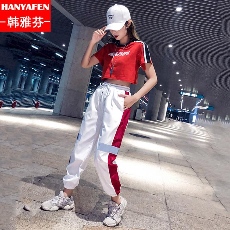 中学生抖音红人同款帅气韩版BF原宿风怪味少女装蹦迪短袖两件套装