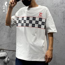 【特价清仓】夏季短袖T恤男宽松潮流百搭格子男士上衣打底半袖潮