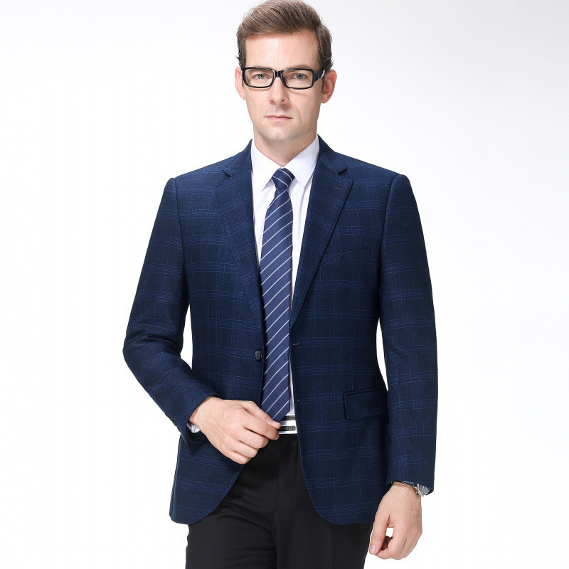 A hair generation mens suit autumn and winter fashion leisure middle-aged wool single suit plaid coat thick youth fashion