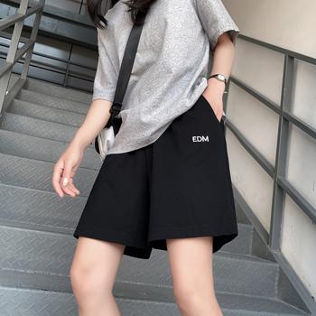 2020新款纯棉五分运动短裤女夏季薄款宽松休闲直筒港味潮ins中裤
