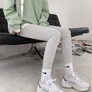 灰色螺纹打底裤女外穿春秋薄款内穿秋裤冬季加绒加厚弹力高腰显瘦