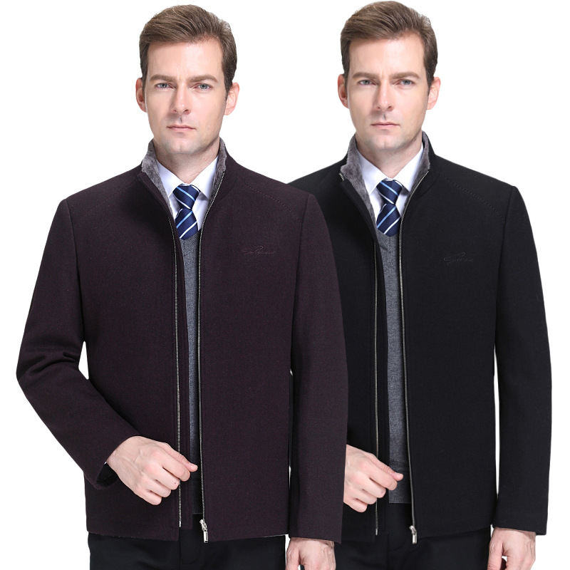Brand 2020 autumn and winter new mens tweed jacket casual collar Plush wool fashion coat mens wear