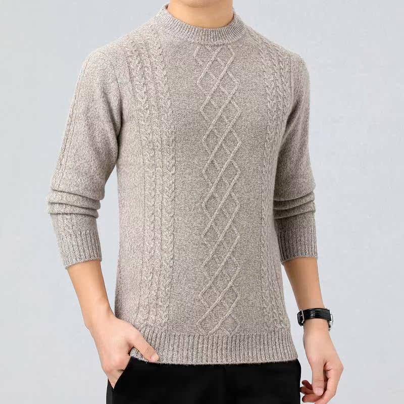 新款 羊毛衫半高领秋冬纯色套头男式毛衣中年休闲针织衫加厚保暖