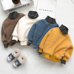 婴儿外穿秋冬婴儿打底加绒加厚宝宝洋气高领假两件儿童保暖上衣