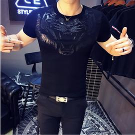社会小伙短袖t恤男韩版修身半截袖S号XS紧身精神快手红人同款衣服图片