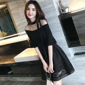 夏装2021新款女装韩版气质名媛修身蕾丝连衣裙网纱露肩小黑裙礼服