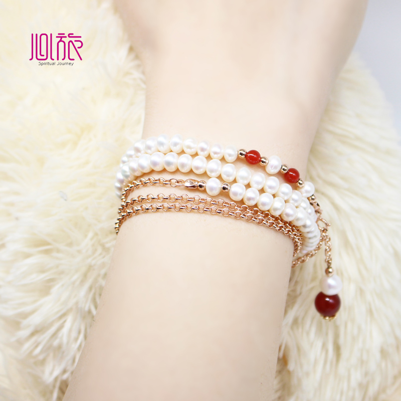 Inswind original variety of wearing natural pearl necklace bracelet red agate bracelet K gold fashion tassel sweater chain