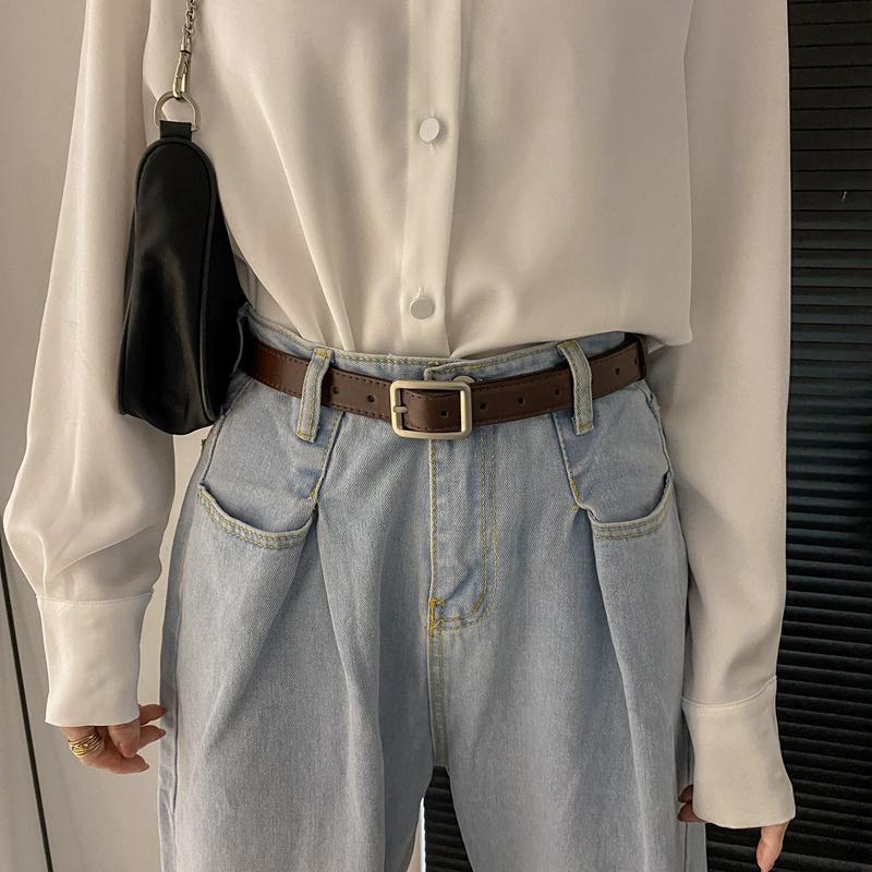 黑色小皮带女士ins风牛仔裤腰带百搭细裤带配饰装饰复古女潮棕色