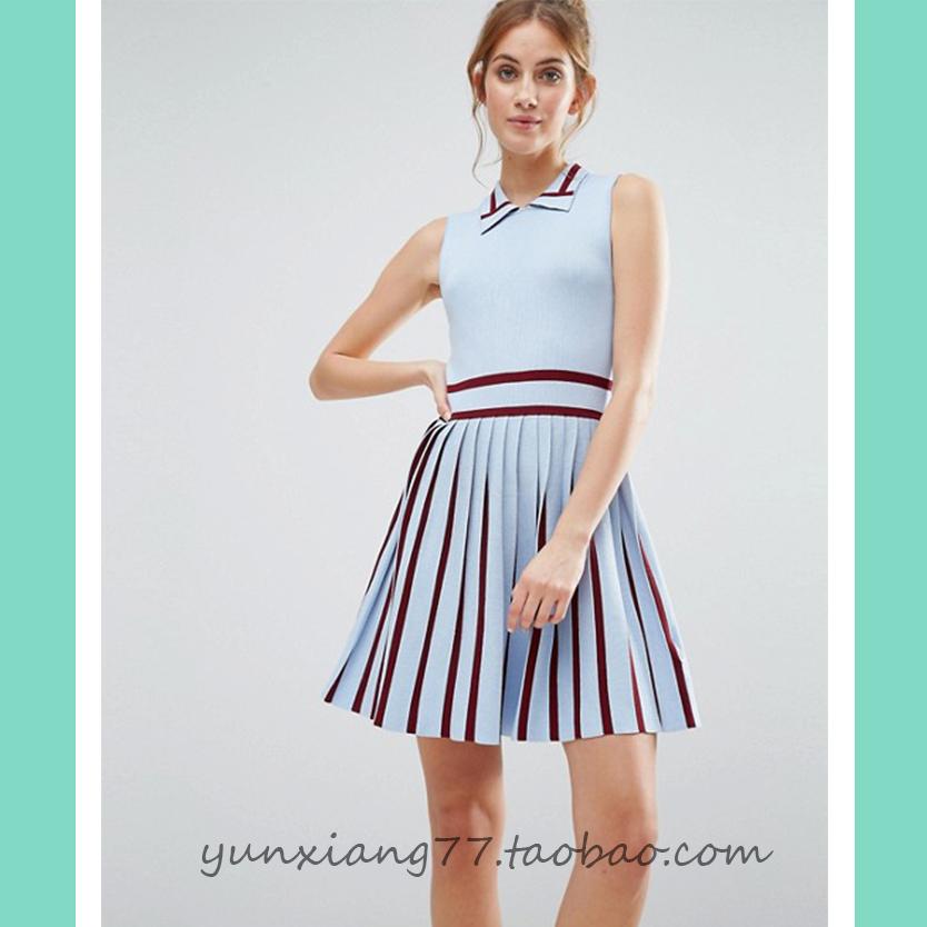 Shirt collar solid color stripe stitching elastic pleated skirt high belt slim A-line dress sleeveless tennis knitting