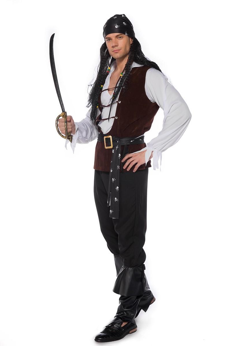 万圣节狂欢COS表演出服骷髅标志海盗船员加勒比海盗服角色扮演服