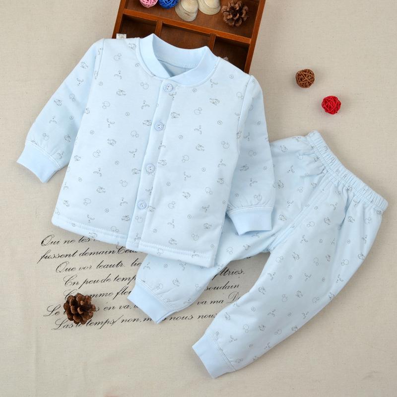秋冬款婴儿纯棉保暖南极棉套装小童薄棉内衣两件套新生儿加棉内衣