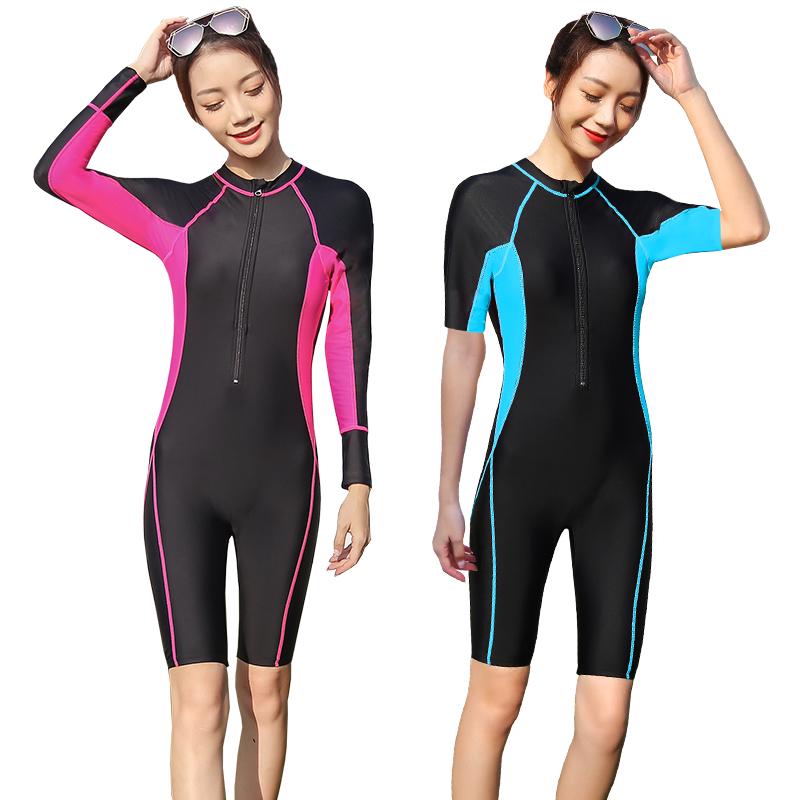 长袖泳衣女保守连体遮肚修身显瘦防晒连体游泳衣大码长款温泉泳衣