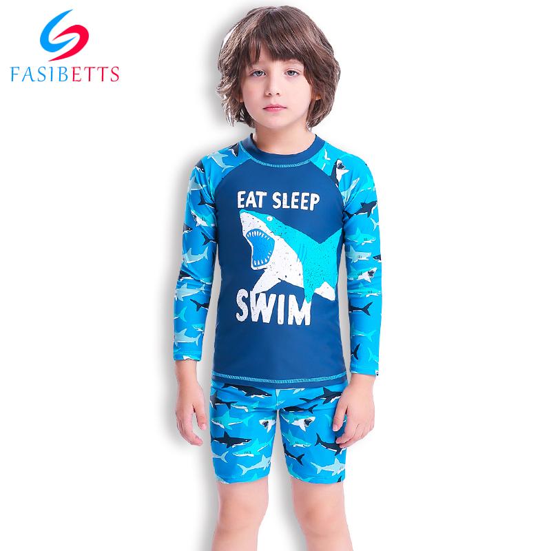 儿童泳衣男童男孩中大童分体泳衣宝宝小孩防晒全身长袖游泳衣3-12(非品牌)