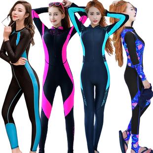 新款长袖泳衣女保守连体全身防晒速干显瘦遮肚专业大码显瘦游泳衣
