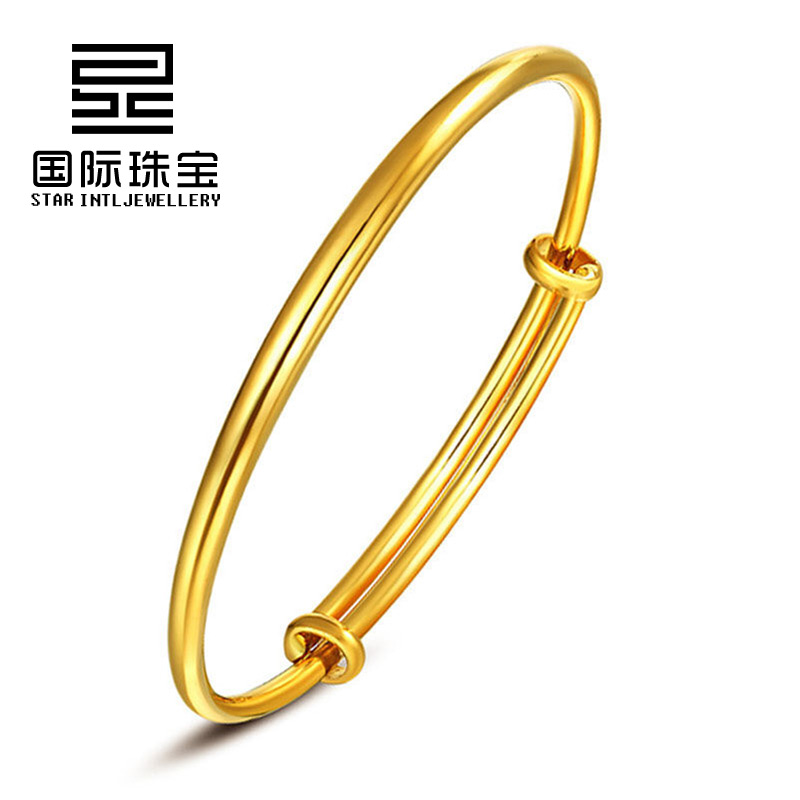 Gold bracelet for womens wedding with smooth surface and adjustable adjustable real cabinet solid simple and generous Gold Bracelet