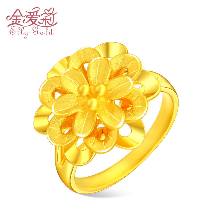 Gold ring female 3D hard gold 999 full gold transfer Pearl Flower Ring pure gold ring wedding Gold Ring Jewelry