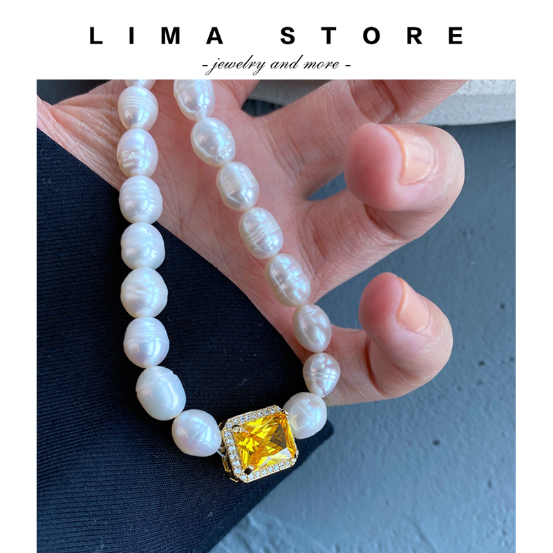 2020 Lima new elegant temperament grand antique feeling gorgeous pearl necklace with diamond amber gem new product