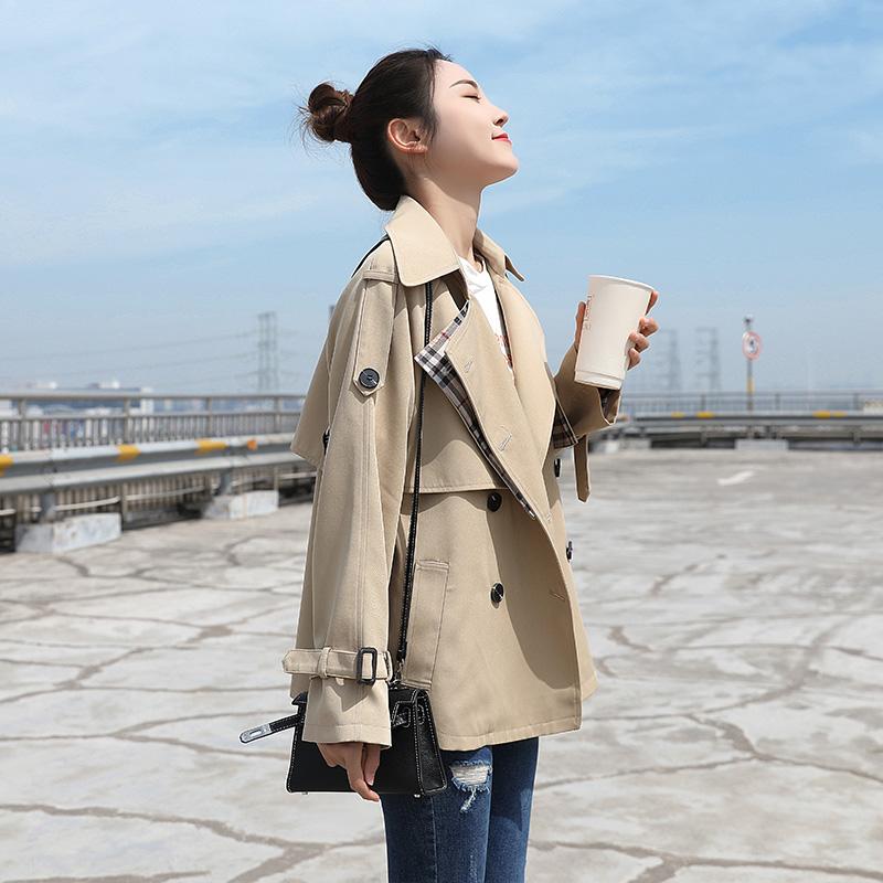 春秋装新款小个子时尚流行短款气质休闲薄外套风衣女waitmore2019