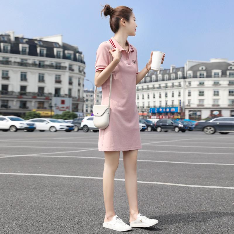 连衣裙2020新款夏季仙女甜美polo衫裙可甜可盐衬衫短袖t恤裙子女