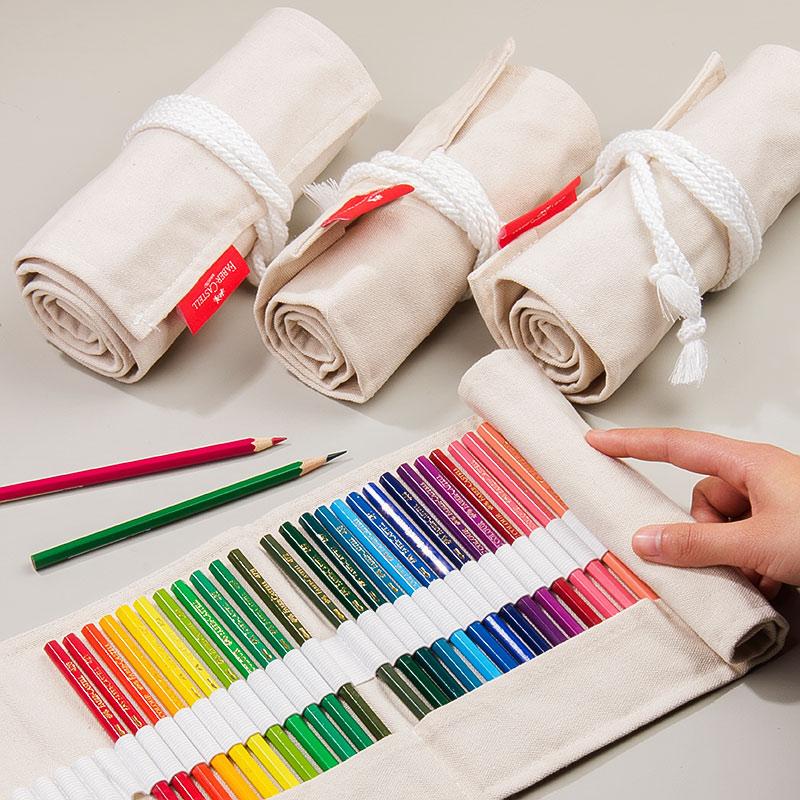 德国辉柏嘉笔帘卷笔袋大容量笔袋铅笔文具袋布笔袋女简约棉麻手工素描彩铅插笔收纳工具创意笔包美术绘画用品