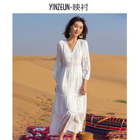 新款仙女海边度假防晒白色沙滩裙