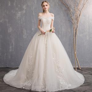 一字肩主婚纱2021新款气质新娘星空简约法式孕妇夏季小个