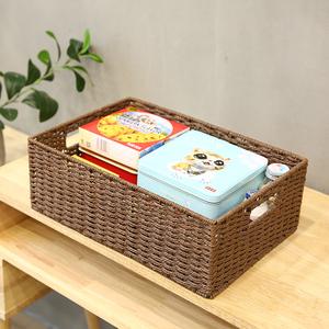 编织收纳筐桌面玩具杂物零食收纳盒收纳篮子布艺储物篮藤编草编框