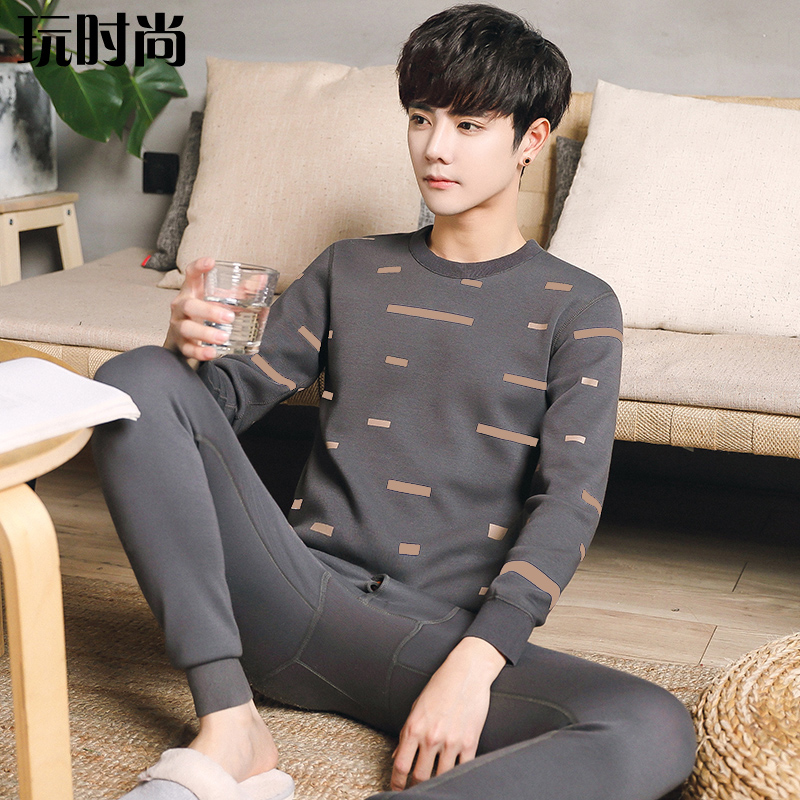 Winter young mens thermal underwear set with cashmere and thickened young mens cotton sweater can be worn out of students clothes
