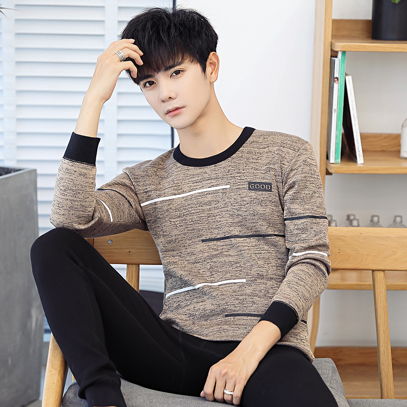 Winter young mens plush and thickened thermal underwear suit young people can wear autumn clothes and autumn pants
