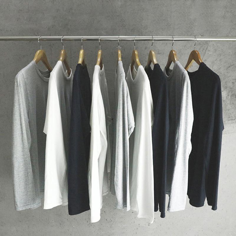 (用59元券)长袖t恤纯色白色纯棉宽松潮打底衫