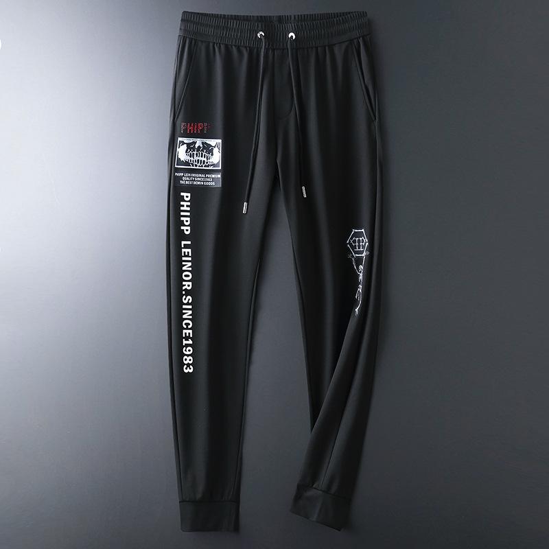 Mens sports and leisure pants 2021 summer thin fashion city fashion printed medium waist elastic small leg tapered pants